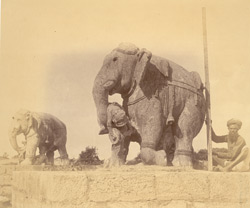 Elephant statues near the gajadvara, Surya Temple or Black Pagoda, Konarka